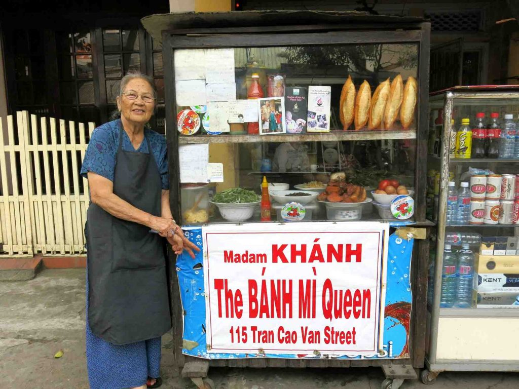 Madam Khanh with her small but famous Banh Mi stall in Hoi An